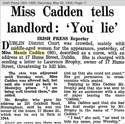 """Screen shot of a newspaper article from 1956 on the Cadden trial. The headline reads """"Miss Cadden tells landlord: 'You lie'"""""""
