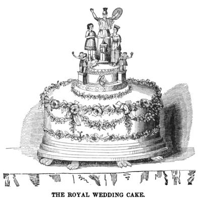 Drawing of a cake, with an elaborate cake topper depicting five royal people