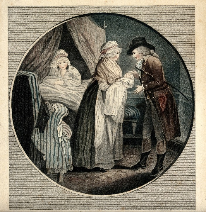 Painting, a young women sits bonneted in a bed with heavy curtains pulled aside, and an older white woman holds out a newborn in a white dress to a white man in a puritan-era black hat and fancy velvet jacket.