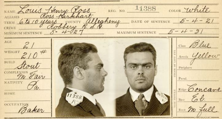 A 1921 Prisoner Identification Card for Louis Ross