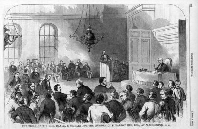 illustration of a courtroom scene, with only men in the pews surrounding a pulpit on which a white man is giving testimony and a white man is in judges robes at the judges...desk?