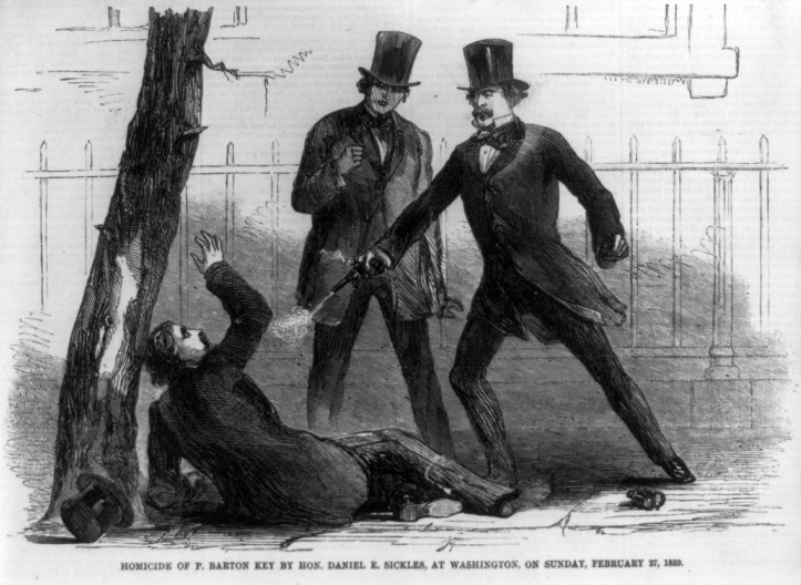 illustration of a white man in a black suit and top hat shooting another white man, who is lying on the ground with one arm raised in defense, while yet another white man in a black suit and top hat watches in the background.