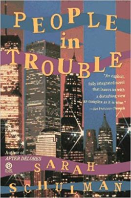 Book cover for People in Trouble. Is a collage of a cityscape with book title written in magazine cut-out looking letters.