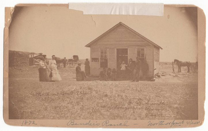 A photograph of the Bender Family house, dated 1872.