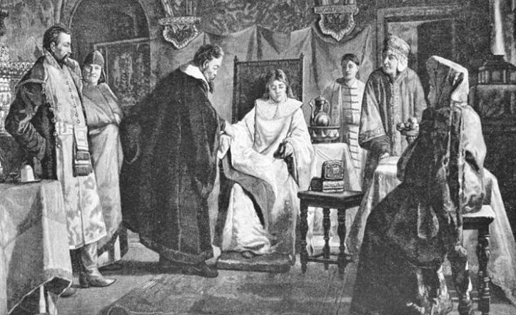 A drawing of a woman in a white gown sitting in a large chair. She is surrounding by men in robes, all looking at her or bending over her.