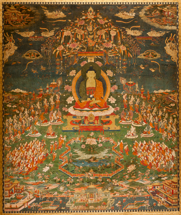 Brightly colored painting of Amitabha seated in the lotus position in the centered background of the image, surronded by flowwers and other Buddhist iconography.