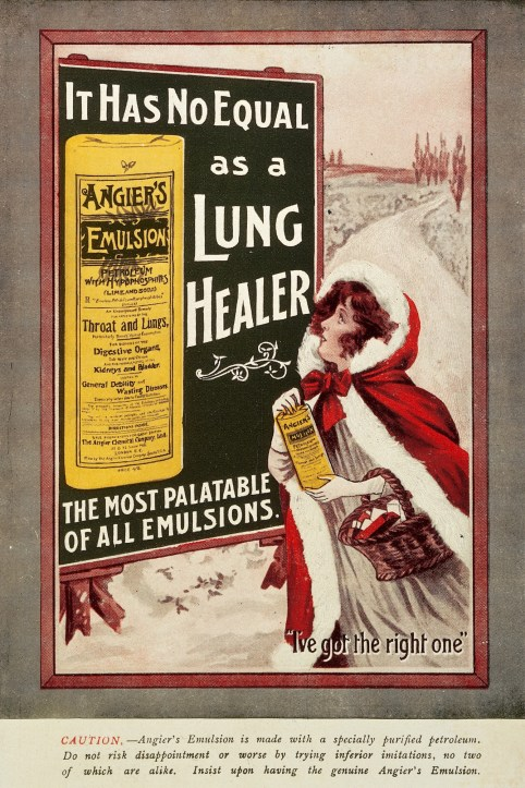 poster depicting a white woman in a fur lined red blocak standing in front of a billboard advertising Angier's Emulsion. - Saying IT HAS NO EQUAL AS A LUNG HEALER