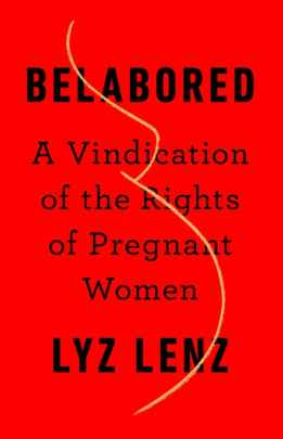 A red background with the book title and author's name in bold black print, with a yellow outline of the side view of a pregnant belly and breasts.