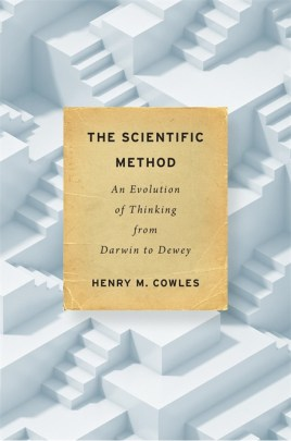 Book cover has repeating Penrose staircases as the background, with the title on a parchment-paper looking rectangle in the center, with the book title - The Scientific Method: An Evolution of Thinking from Darwin to Dewey