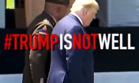 Donald Trump is pictured walking in profile next to a man in military uniform. In big bold letters are #trumpisnotwell