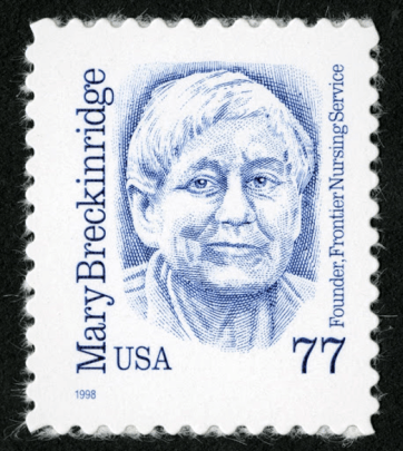 Blue sketch of Mary Breckinridge, founder of th frontier Nursing Service; a woman with a short crop of white hair and a close-lipped smile