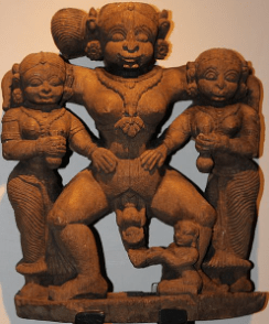 A wooden sculpture from 8th century with shows a women giving birth to a child in India, she is flanked by two other women holding potions or bottles of some kind, each grasping one of her hips, as she stands and pushes a baby out her vagina