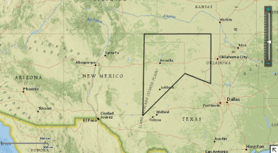 Map of the southwest US, Kiowa territory outlined in black