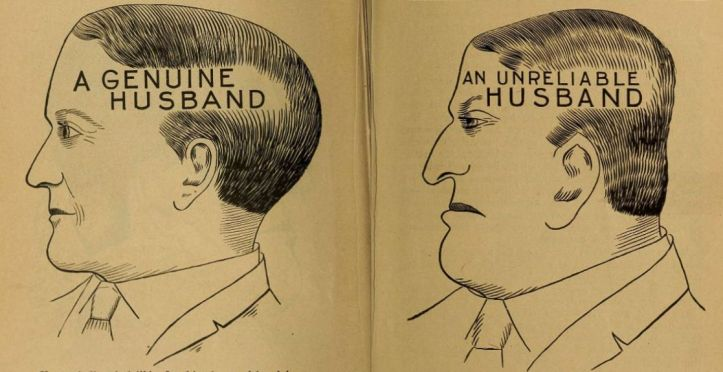 """Phrenology drawings of a """"genuine"""" and an """"unreliable"""" husband"""