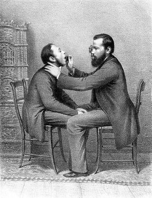 A drawing of a doctor putting a medical instrument in a man's mouth