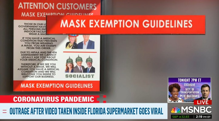 Screenshot of MSNBC story about a teen in a FL supermarket refusing to wear a mask.