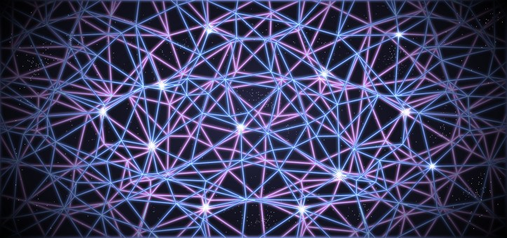 Blue, white, and pink webs on a black background
