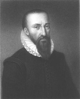 Drawing of a man with a long beard and white frilled collar