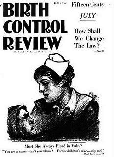 Cover of Birth Control Review with drawing of a nurse bending over a woman.