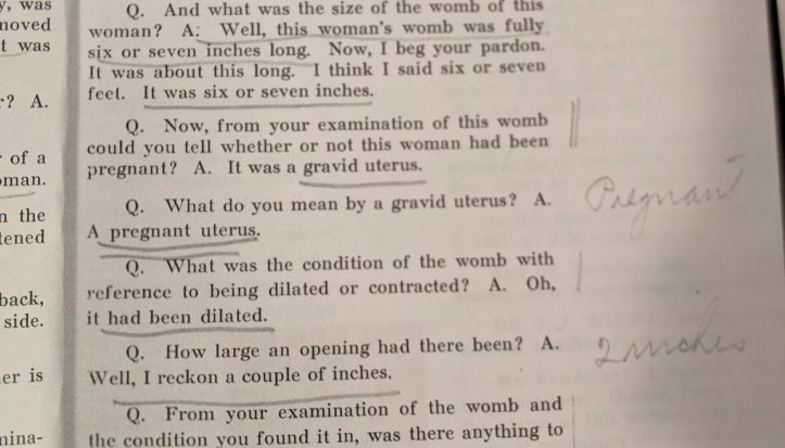 Photo of court case transcript discussing the average length of a woman's womb