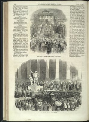 Illustrations show crowds of people milling around statues in Washington DC, dressed in 19th century suits and gowns.