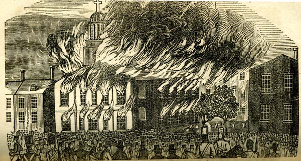 Drawing of a church on fire