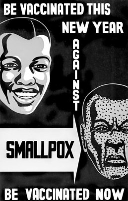 Black and white poster featuring faces with and without smallpox marks.