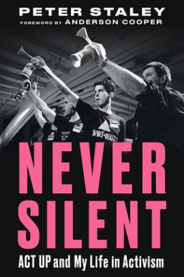 Cover of Never Silent, featuring protestors with airhorns and bright pink lettering.