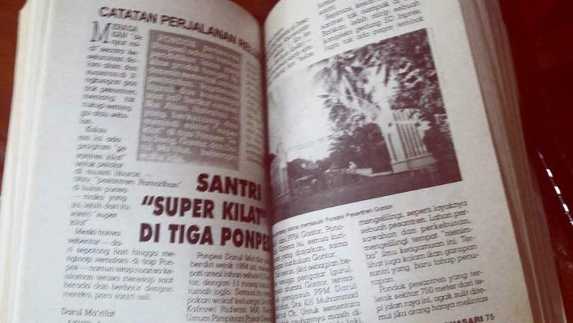 Salah satu artikel reportase perjalanan saya: Perjalanan Religi, Santri 'Super Kilat' Di Tiga Ponpes, dimuat di Majalah WARNASARI, grup Pos Kota (dok Nur Terbit)