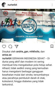Ulasan air mineral di akun Instagram @NurTerbit
