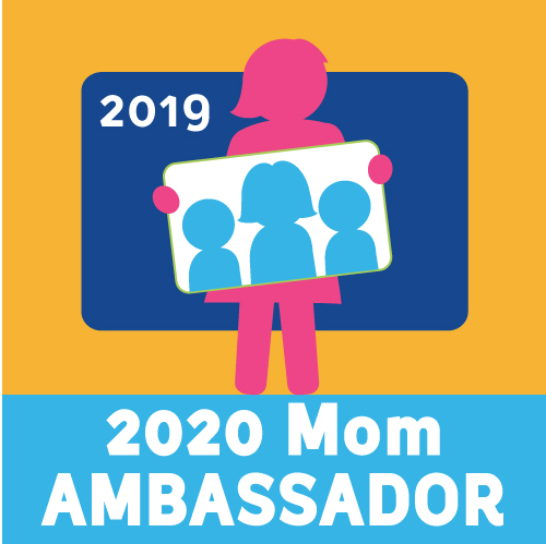 This is the 2020 Mom speaking Ambassador badge. 2020 Mom is an advocacy group for families of young children and postpartum moms.