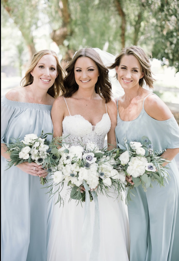 Dusty Blue Wedding with eucalyptus, peonies and blue thistle.