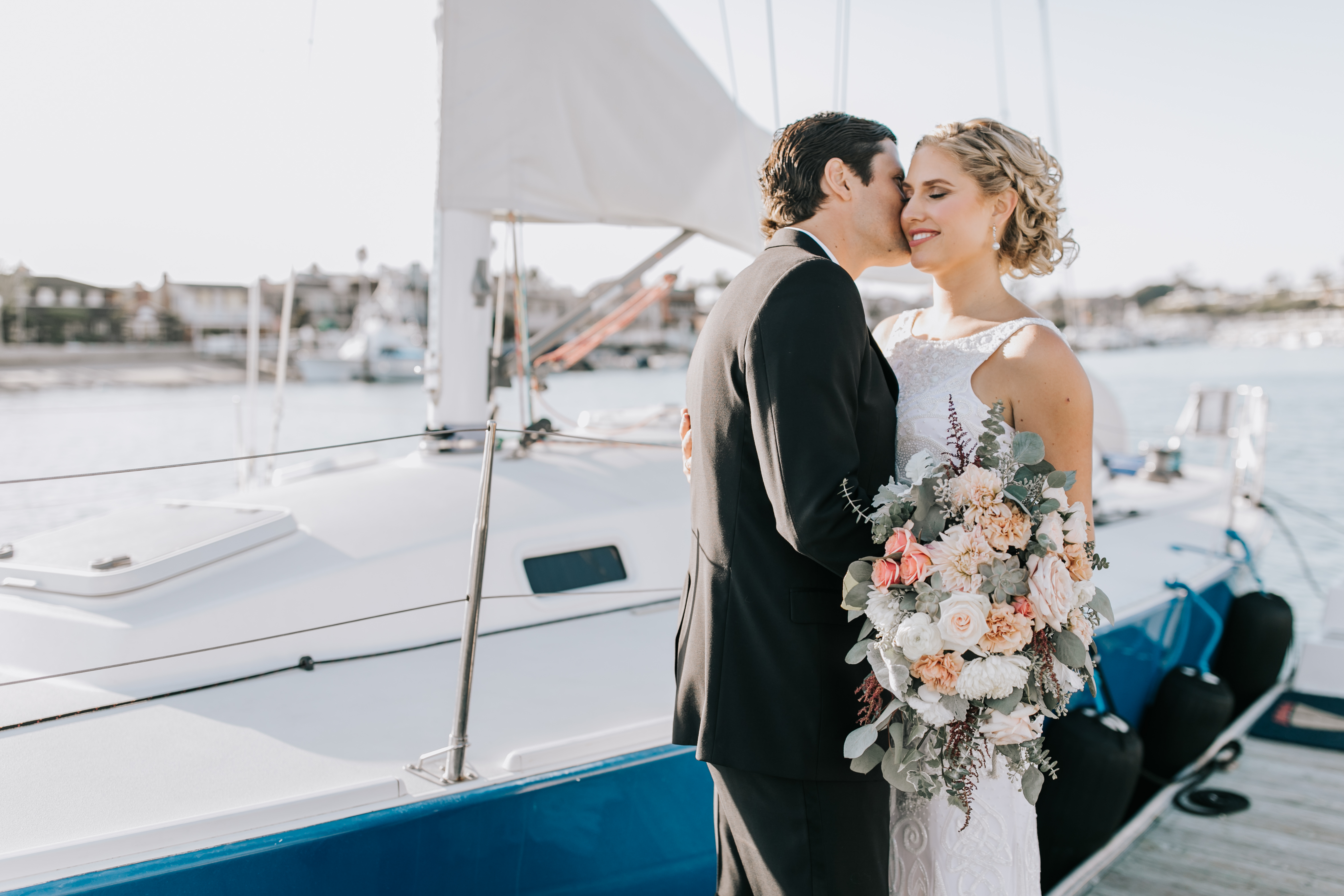 With Flourish Wedding Flowers - A dusty beach wedding of blushes, roses, and sailboats