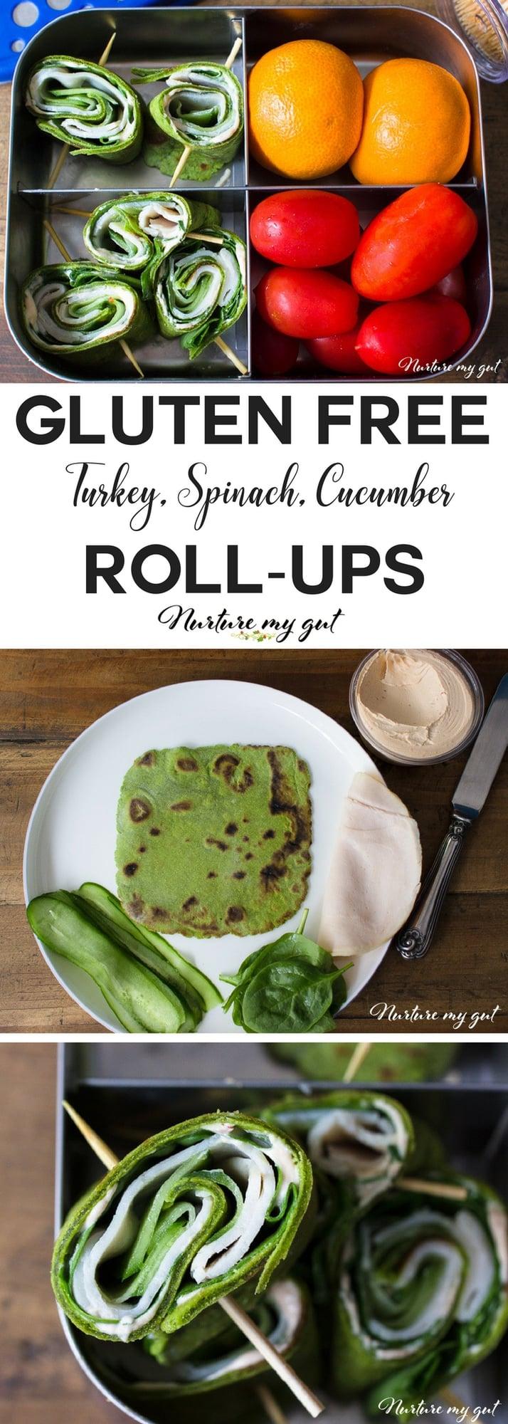 Gluten Free Turkey Spinach Cucumber Roll Ups