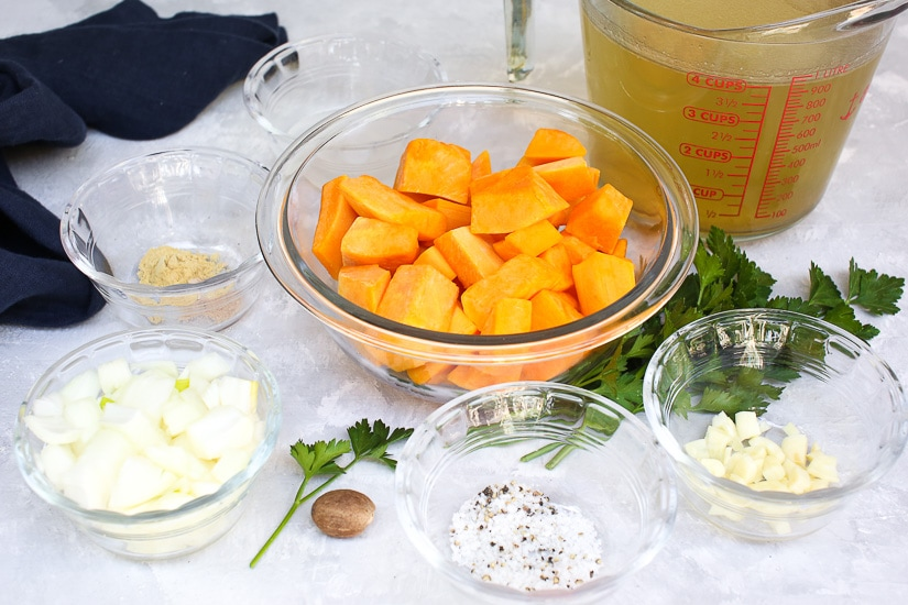 Ingredients prepped for making Instant Pot Butternut Squash Soup