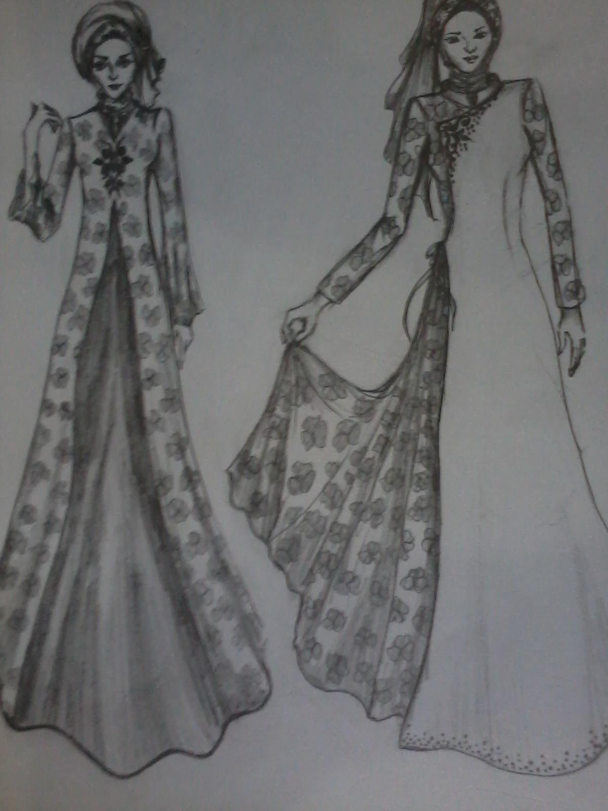 Baju Muslim Terbaru Gambar Sketsa Desain Baju Muslim Remaja