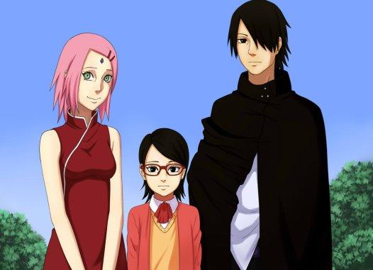 Keluarga Sarada ada Sakura dan Sasuke karya penggemar