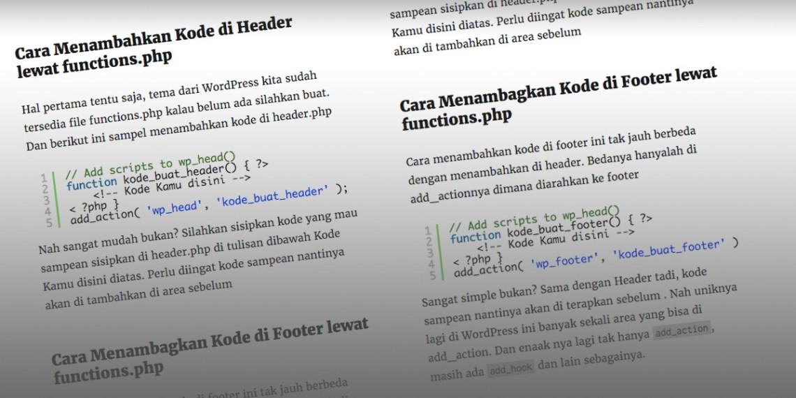 Nambah Kode lewat functions WordPress