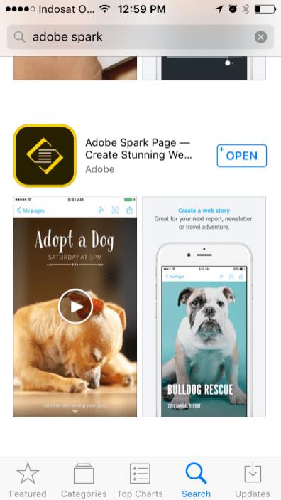 Keluarga adobe spark di appstore spark page