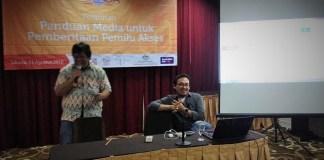 Pembicara di pelatihan yang digelar oleh General Election Network for Disability Access/Foto nusantaranrews (Muhtar)