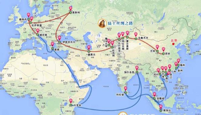 peta jalur sutra dan jalur sutra maritim china