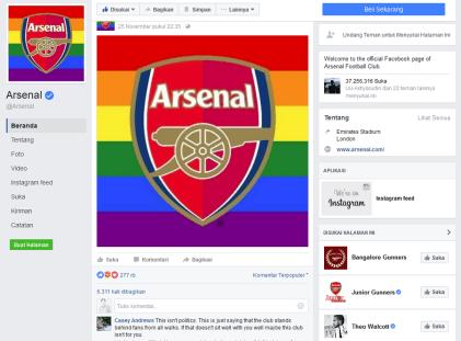 Logo Baru Arsenal Berbendera LGBT di akun facebook. Foto Nusantaranews