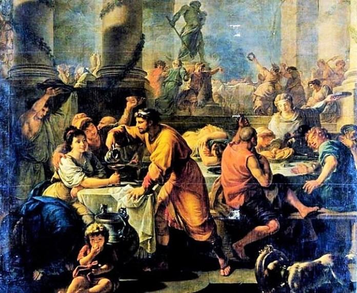 Lukisan perayaan Saturnalia/Foto : Dok. Ancient Origins/ Via Elshinta.com