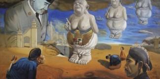 """Lukisan """"Melahirkan Pancasila"""" (2011) karya V.A. Sudiro/Foto: Dok. Majalah Griya Asri"""