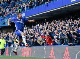 Predator Chelsea Diego Costa merayakan gol ke gawang WBA. Foto via @twtchelseamy