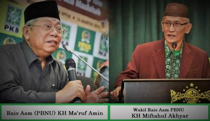 Rais Aam Pengurus Besar Nahdlatul Ulama (PBNU) KH Ma'ruf Amin dan Wakil Rais Aam KH Miftahul Akhyar/Foto Ilustrasi SelArt/Nusantaranews