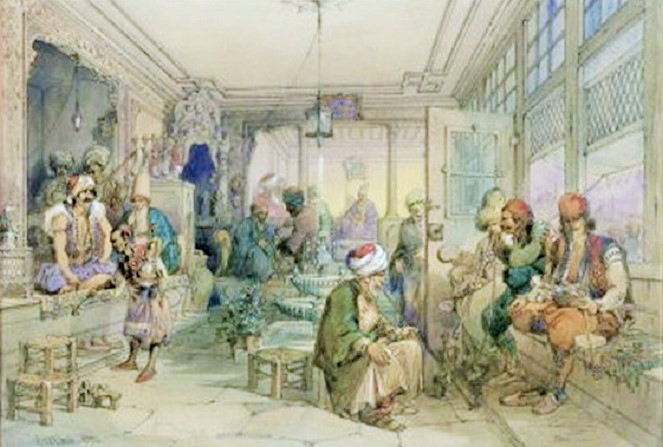 Lukisan Coffee House di Constantinople 1854/Foto: Akal Sejarah