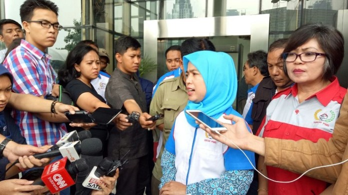 Ketua Umum (Ketum) Sekar PNRI, Anggraeni Mutiasari, di Gedung KPK/FOto Restu Fadilah/NUSANTARAnews