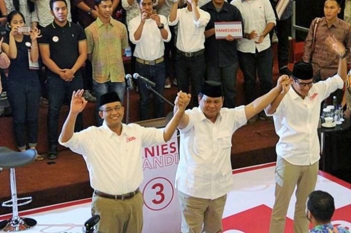 Prabowo kawal Anies-Sandi untuk pemenangan di Pilakada DKI Putaran Kedua/Foto: Dok. Tirto.id