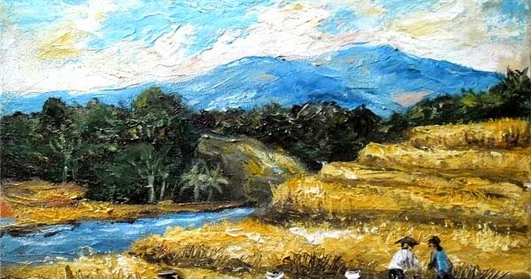 Sawah Terasering | Lukisan Yogyakarta by milieArt | Lukisan dijual 550.000
